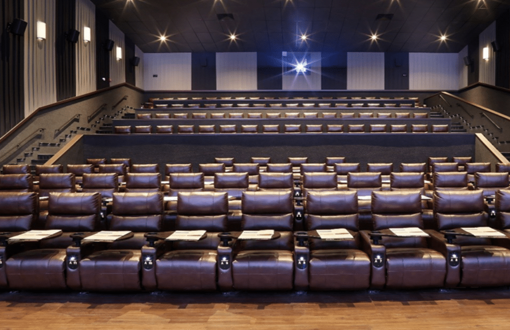 luxury dine-in theater with leather seats in the woodlands