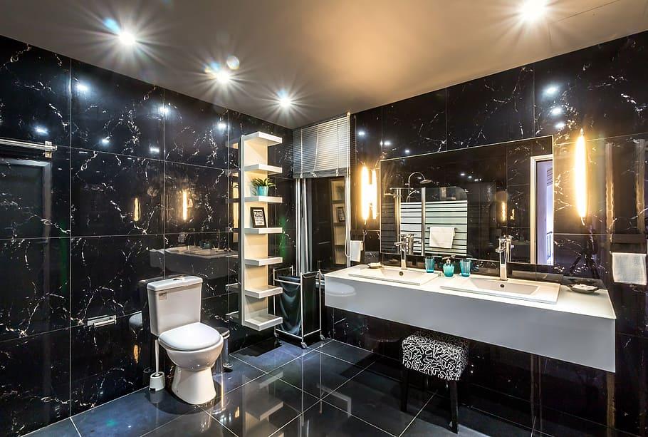 Luxury black bathroom remodel costs