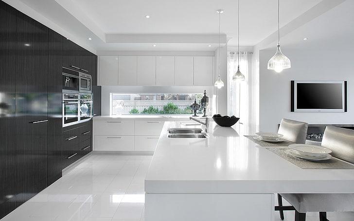 White modern kitchen with minimalist cabinets