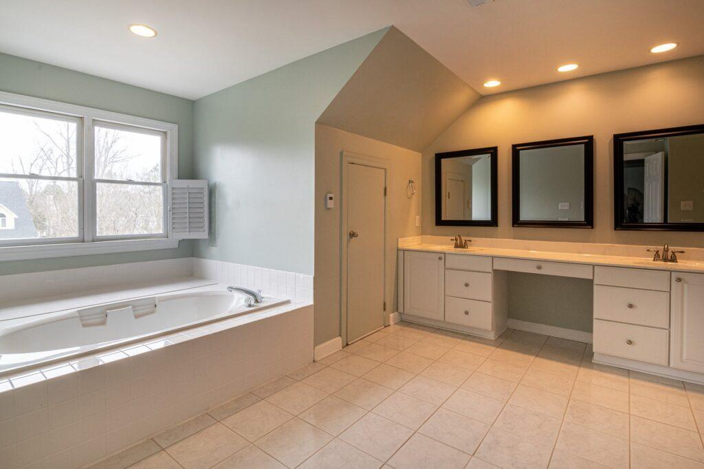 Bathroom with tile flooring