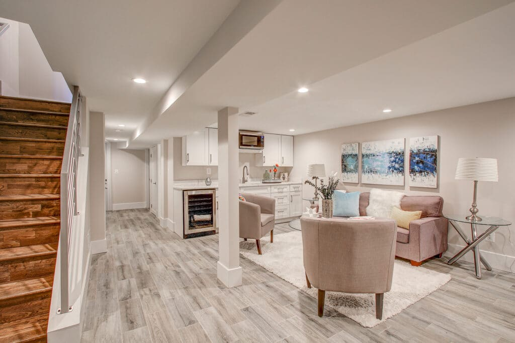 basement remodeling process finishes