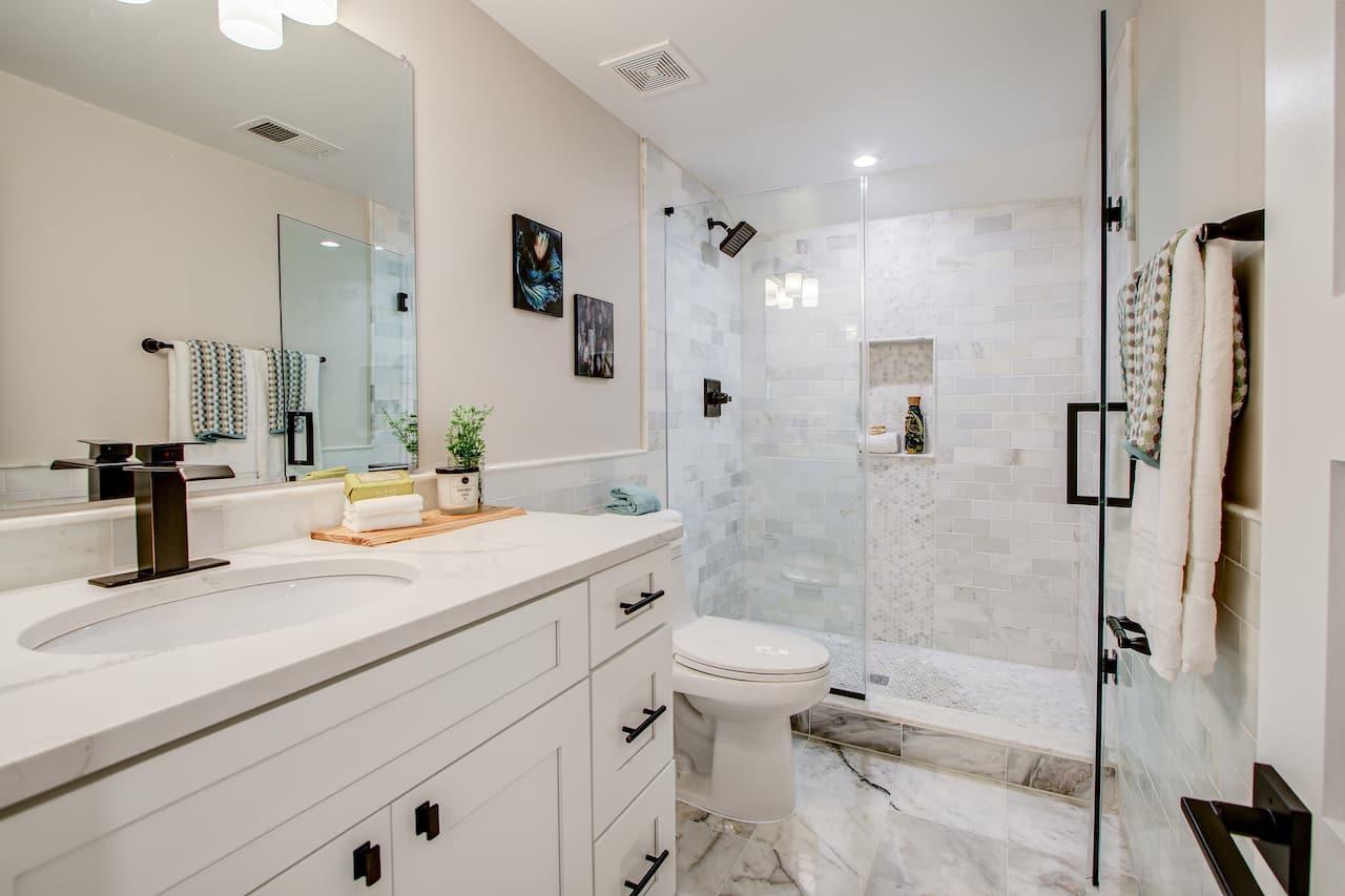 bathroom walk in shower vanity